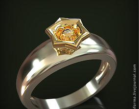 3D print model Two-color ring with star flower sun and