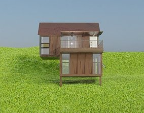 cabin on a hill house archiviz house exterior 3D model