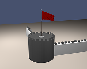 3D animated Flag burgundy Flag on the tower