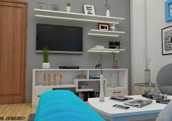 Colorful cyan Living Room