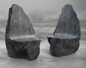 Rock Stone Obelisk Sofa Chair 3D Model game-ready