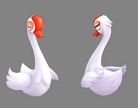 3D asset Cartoon white goose - proud white swan