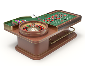 American and European Roulette Table 3D wheel