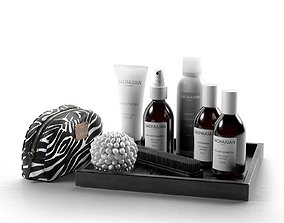 Hair Care Products Clutch Bag and Brush 3D
