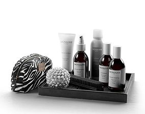 Hair Care Products Clutch Bag and Brush 3D model
