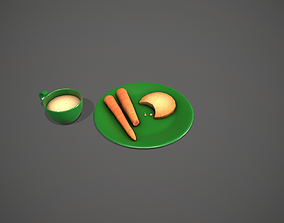 3D model Santa Snack Plate - Green Cup and