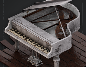 3D asset Abandoned White Grand piano