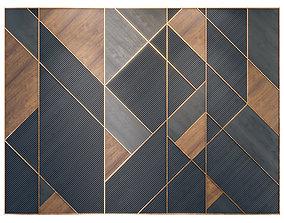 3D model Decor Wood Panel rhombuses in brass 2