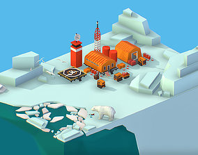 3D asset Isometric Polar Station on Glacier Polar Bear