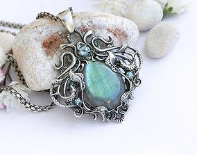 Stone pendant necklace printable jewelry model vintage