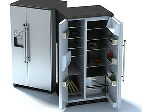 Grey Compact Refrigerator 3D model