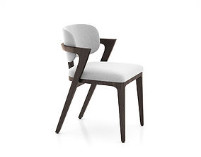 3D model Adam Court Upholstered Dining Chair by West Elm
