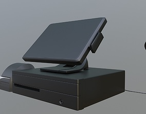 Modern Cash Register Online POS terminal Posiflex 3D model