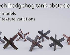 3D asset Czech hedgehog tank obstacle low poly set with 1