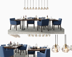 RH Morgan Track Blue Dining Set 3D model