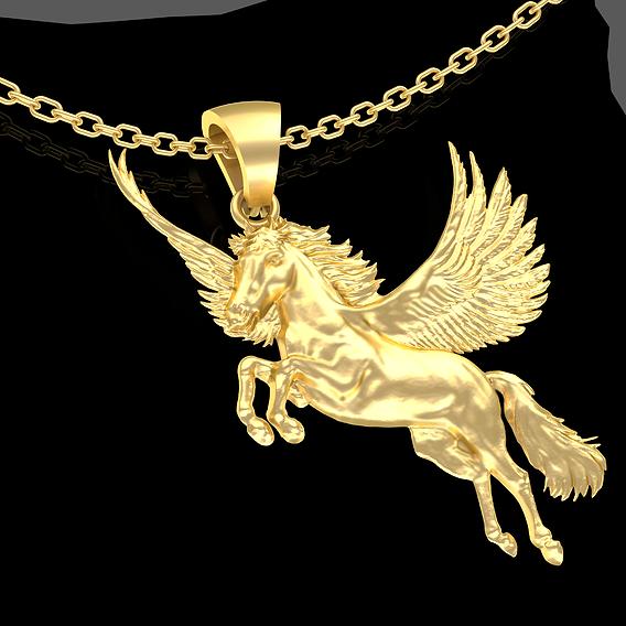 Pegasus Pendant jewelry Gold 3D print model