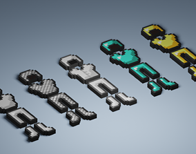 3D model Set of low-poly warrior items from