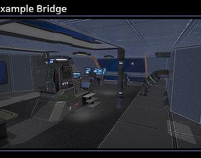 3D asset low-poly Modular Scifi Bridge