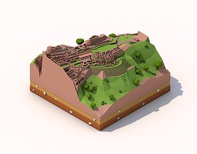 Cartoon Low Poly Machu Pichu Landmark 3D asset