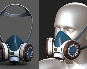 VR / AR ready Gas mask respirator military combat 3d 2