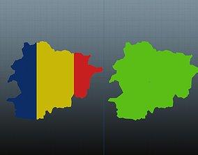 Andorra map symbol 3D asset