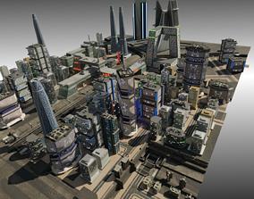 City district 3D model low-poly