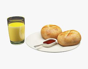 3D asset Breakfast Food 002