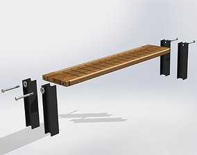Bench with Steel Beam 3D