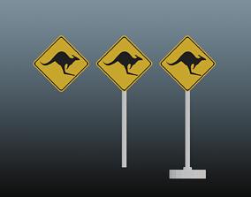 kangaroo road sign 3D asset