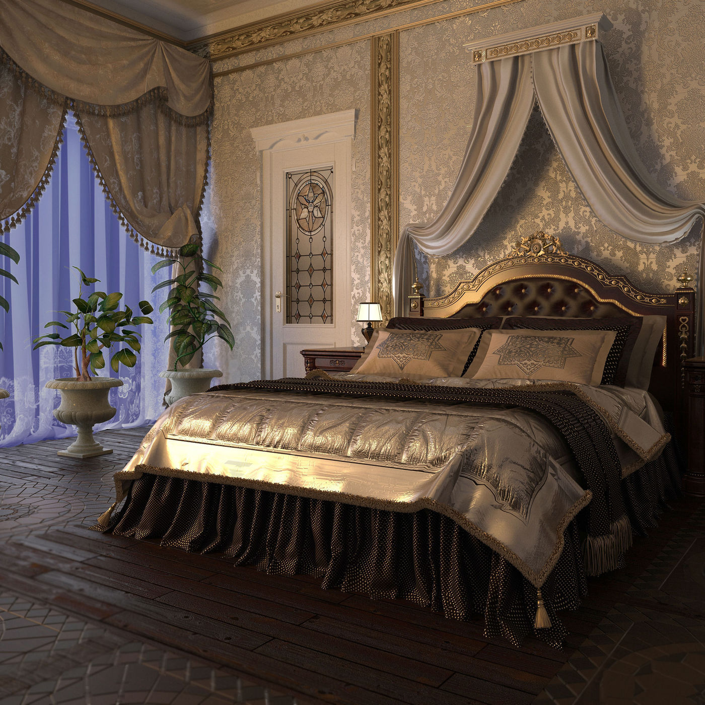 Classic bedroom in the evening light