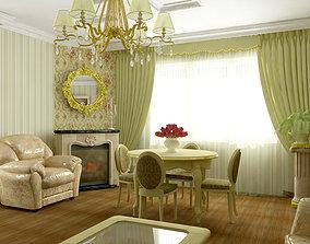 Model living in olive color 3D