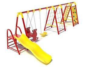Childern s Swingset With Climbing Area 3D model