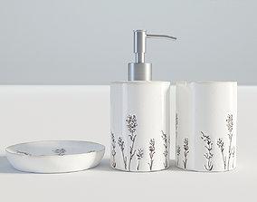 Bathroom Set White Flower Ornament 3D model