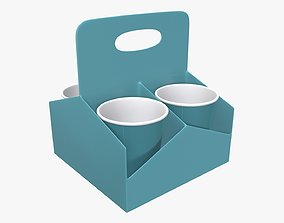 Plastic paper coffee cup holder 3D