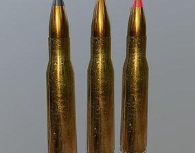 50 cal Bullets and Cartridge 3D asset