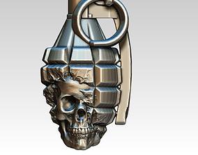 3D print model Detailed Grenade Skull Man Jewel Pendant