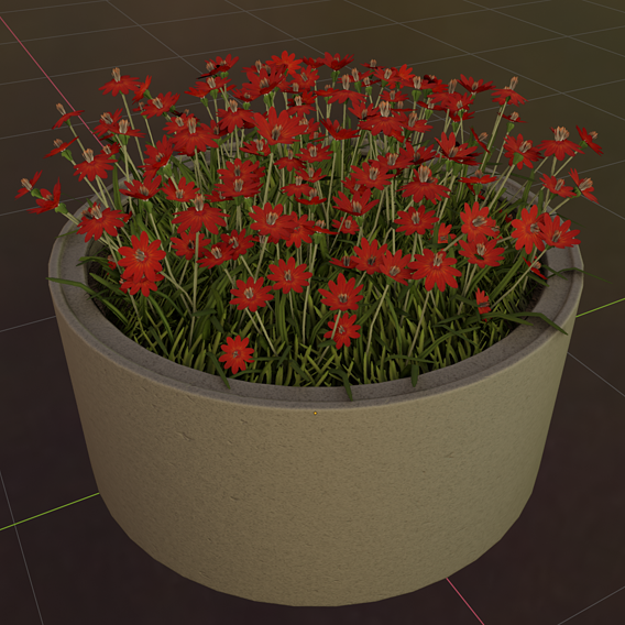 Concrete 1500mm with Red Flowers Version 1 (Blender-2.91 Eevee)