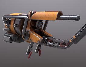 3D asset Game Ready PBR Flamethrower Gun