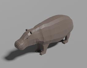 3D asset Cartoon Hippopotamus