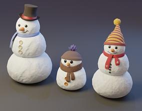 low-poly Snowman - 3D