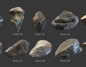 3D asset game-ready Stones set