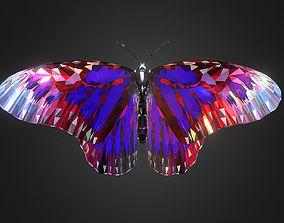 3D asset Batterfly Purple Low Polygon Art Insect