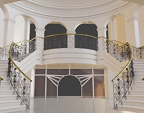 classic and elegant curved stairs interior 3D asset