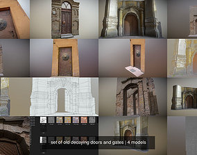 set of old decaying doors and gates 3D