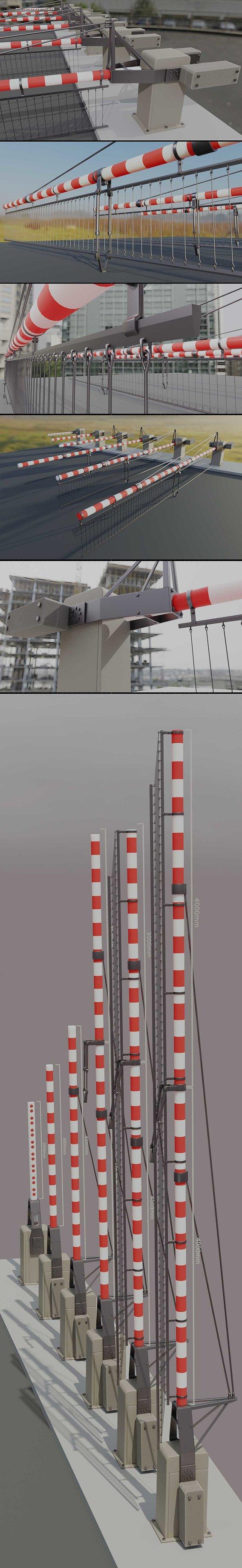 Modern Railway Barriers Set (WIP-5) Blender-2.91 Eevee