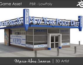 game-ready NYPD Building - Game Asset - PBR LowPoly