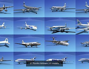21 PanAm Airliners 3D model
