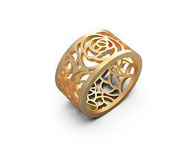 3D printable model Ring with pattern rose