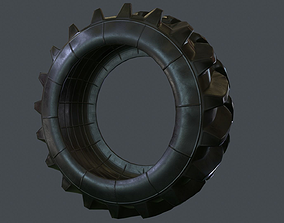 Tractor Tire PBR Game Ready 3D asset low-poly