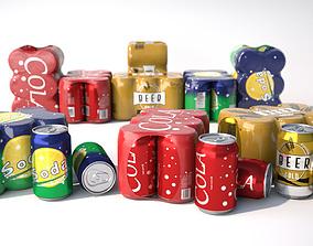 6 pack cans 3D model